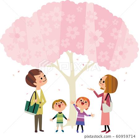 觀看與家庭的櫻花 60959714