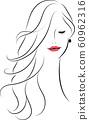 美丽的头发的女人的美丽 60962316