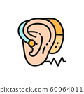 Hearing aid flat color line icon. Isolated on white background 60964011