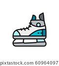 Skates, sport equipment flat color line icon. Isolated on white background 60964097