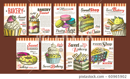 Bakery Pastry Shop Advertising Banners Set Vector 60965902