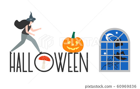 Creepy elements for Halloween 2020 Party card 60969836