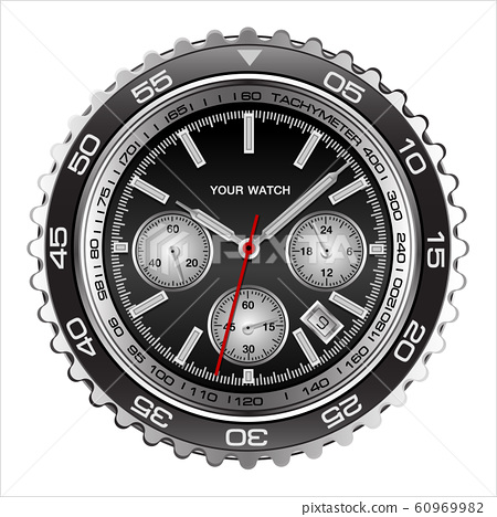 Realistic wristwatch face black steel chronograph luxury for men on white background vector illustration. 60969982