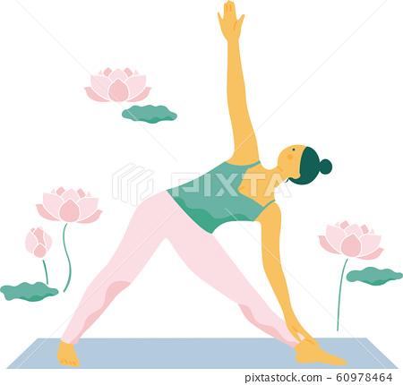 woman doing yoga pose with lotus flower  stock
