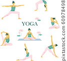 Illustration set of women doing 7 yoga poses. Editable vector illustration. 60978498
