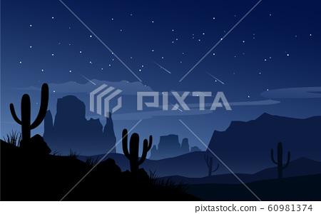 Night in desert with cactus 60981374