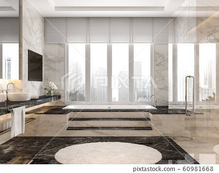 Modern luxury bathroom with black and white marble tile 3d render 60981668