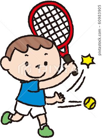 一個男孩打網球日語 60983905