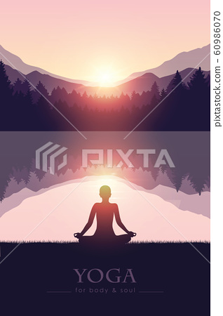 yoga for body and soul meditating person silhouette by the lake with mountain landscape 60986070