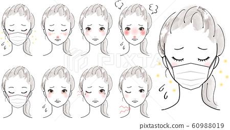女人患花粉症面具粗糙的皮膚麻煩 60988019
