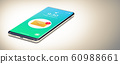 A Single Mobile Phone with Email Notification on Screen. 60988661