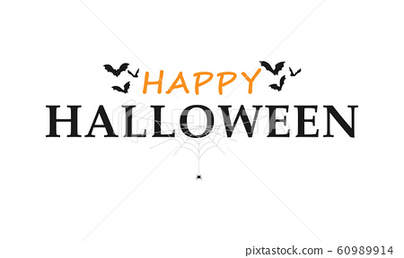 Happy halloween text lettering banner or label 60989914