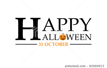 Happy halloween text lettering banner or label 60989915