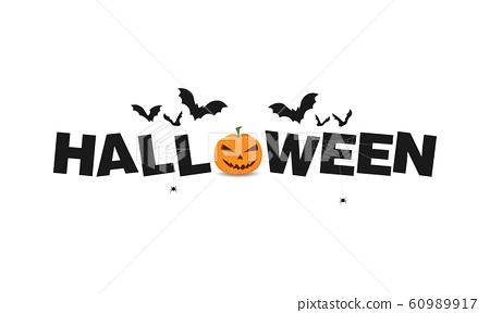 Happy halloween text lettering banner or label 60989917