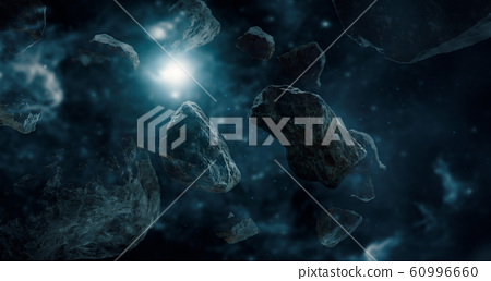 Meteorites in deep space planets. Asteroids in distant solar system. Science fiction concept. 60996660