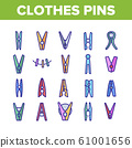 Clothes Pins Fasteners Collection Icons Set Vector 61001656