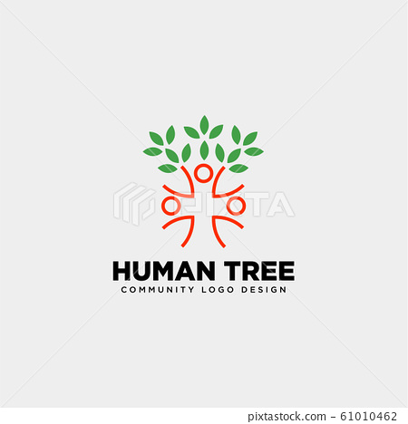 human tree leaf community logo template vector 61010462