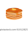 Pile of homemade pancakes isolated 61012825