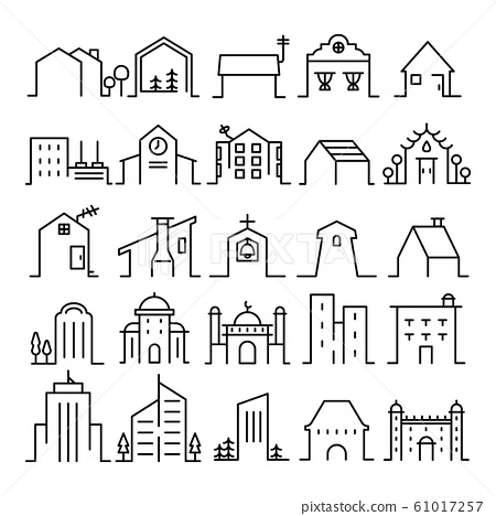 set of house and building editable stroke line icon. facade architecture symbol. sign, icon, logo, design element of Real estate. 61017257
