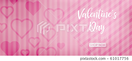 Valentine background with pink abstract pattern included oblique lines and heart shapes for each side 61017756