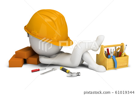 3d small people - builder sleeps in the workplace 61019344