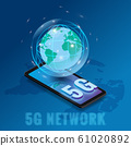 Isometric 5G network wireless technology template. Letters 5G smartphone with Earth planet. Fifth innovative generation of the global high speed Internet network. Vector concept illustration isolation 61020892