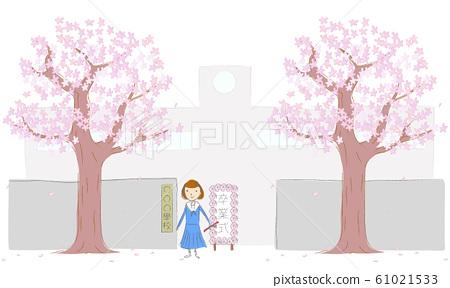 Cherry tree, school gate and schoolgirls 61021533