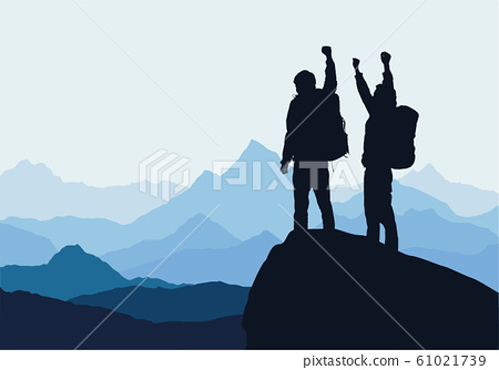 Vector illustration of mountain landscape with two 61021739
