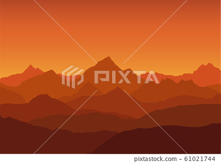panoramic view of the mountain landscape with fog 61021744