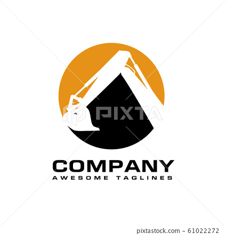 Excavators Construction machinery logo, Hydraulic mining excavator vector logo,. Heavy construction equipment symbol with boom dipper and bucket. 61022272