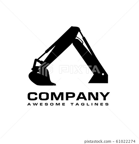 Excavators Construction machinery logo, Hydraulic mining excavator vector logo,. Heavy construction equipment symbol with boom dipper and bucket. 61022274