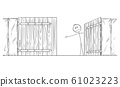Vector Cartoon Illustration of Man or Businessman Behind Open Gate Inviting to Go through Inside or Enter 61023223
