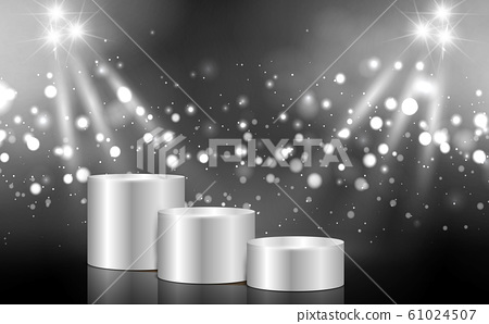 silver podium with white light in the studio room 61024507