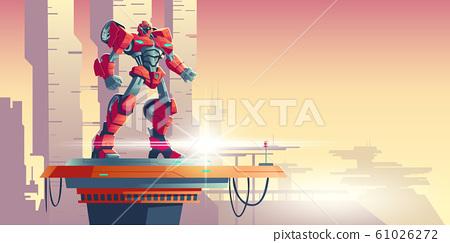 Red robot transformer alien invader on spaceship 61026272