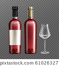Red wine glass bottles and empty drinking glass 61026327