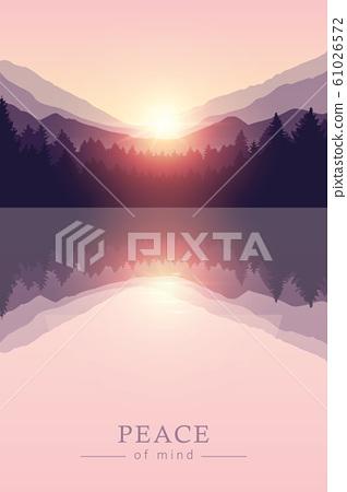 beautiful sunrise by peaceful lake on mountain purple nature landscape 61026572