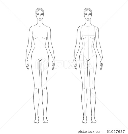 Womans Figure Sketch For Technical Drawing With Stock Illustration 61027627 Pixta