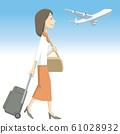 Illustration material | Overseas | Travel | Women | Airplane 61028932