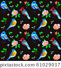 Seamless pattern with birds, bees and dog-rose 61029037