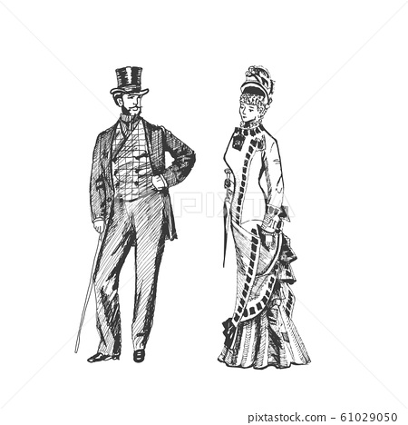 Man and woman in historical costumes, steampunk design for card. Hand drawing couple - Vector illustration 61029050