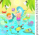 Beach Vacations for Children in Tropical Paradise Swim with Sea Creatures. 61029974