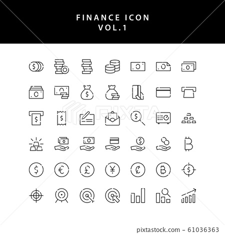 Business and finance icon outline set vol 1 61036363
