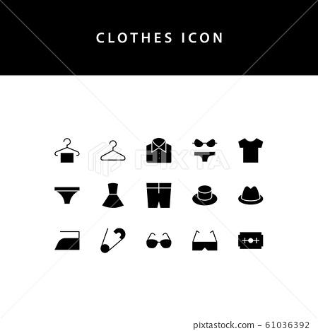 Clothes glyph style  icon set 61036392