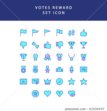 reward and votes filled outline icon set 61036447
