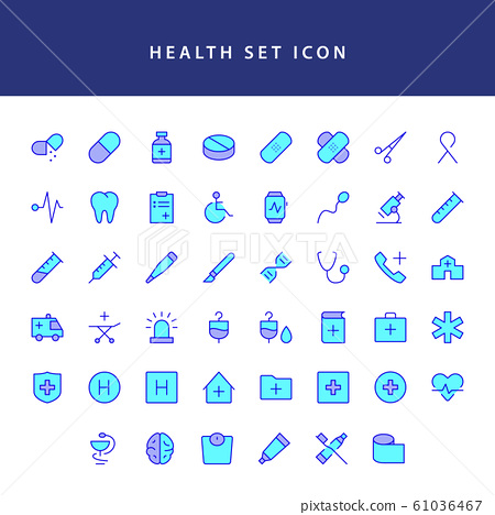 healt icon set filled outline set 61036467