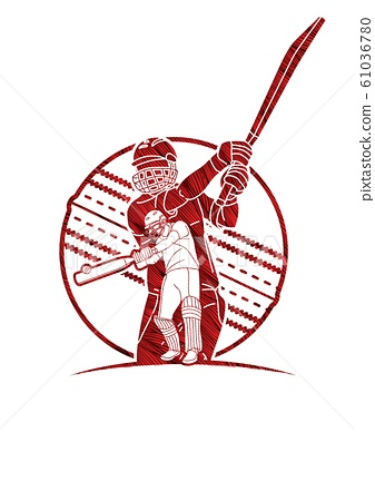 Group of Cricket players action cartoon sport graphic vector. 61036780