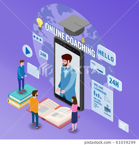 Online coaching education training, workshops and courses. Flat 3d isometric design. Students studying, with smartphone, pile of books icon set and mentor masterclass. Vector illustration isolated 61039299