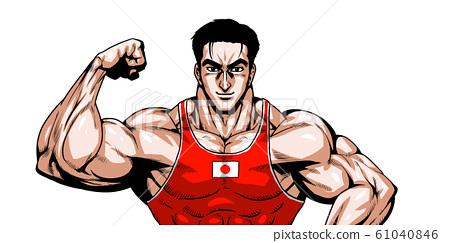 올림픽, 스포츠, 일본 대표, 극화, 만화, 근육, 보디 빌딩, 마초, 포즈, 정면, 흰색 배경, 61040846