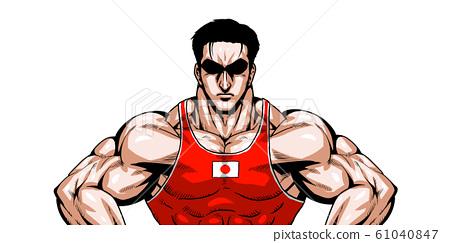 올림픽, 스포츠, 일본 대표, 극화, 만화, 근육, 보디 빌딩, 마초, 포즈, 정면, 흰색 배경, 61040847