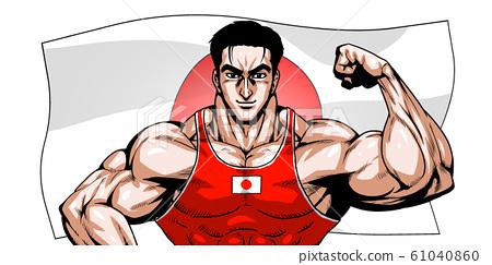 올림픽, 스포츠, 일본 대표, 극화, 만화, 근육, 보디 빌딩, 마초, 포즈, 정면, 흰색 배경, 61040860